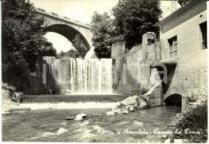 1957 AMANDOLA (FM) La cascata del TENNA dal basso * Cartolina FG VG