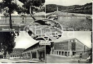 1956 CASERTA Vedutine con parco reale e stazione * Cartolina ANIMATA FG VG