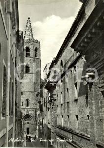 1955 ALGHERO (SS) Scorcio pittoresco di via Principe UMBERTO *Cartolina FG VG