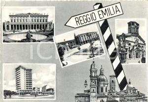1957 REGGIO EMILIA Vedutine di PIAZZA DEL TRICOLORE Duomo e Teatro *FG VG