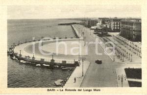 1935 ca BARI Veduta della Rotonda sul LUNGOMARE *Cartolina ANIMATA FP NV