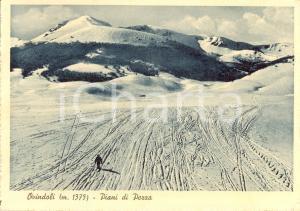 1938 OVINDOLI (AQ) Sciatore sull'altopiano PIANI DI PEZZA *Cartolina ANIMATA FG