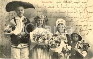 1903 NANCY (FRANCIA) Bambini con fiori bonne fête *Cartolina augurale FP VG