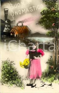 1924 AUGURI DI ONOMASTICO - Bambina con fiori  *Cartolina ANIMATA FP NV