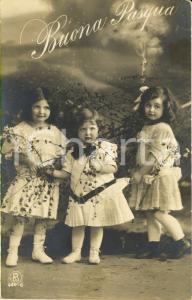 1910 ca Auguri PASQUA Bambine con rami fioriti *Cartolina VINTAGE FP VG
