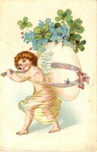 1900 ca PASQUA Amorino trasporta un uovo con fiori *Cartolina augurale FP NV