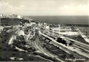 1954 ORTONA (CH) Veduta della ferrovia sul lungomare *Cartolina postale FG VG