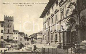 1934 AREZZO Piazza VASARI con Palazzo della FRATERNITA' e Torre COFANI *VG