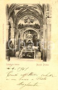 1901 ASCOLI PICENO Interno della cattedrale di SANT'EMIDIO *Cartolina FP VG