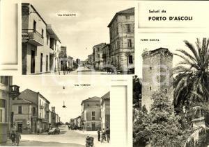 1954 PORTO D'ASCOLI (AP) Vedutine Via TORINO e Torre GUELFA *Animata FG VG