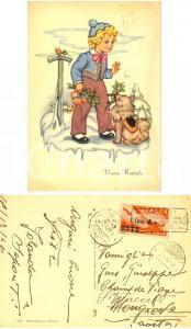 1948 Cartolina BUON NATALE bimbo con cane *Posta Aerea sovrastampato Lire 6