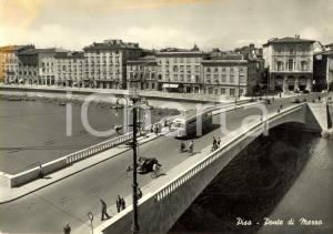 1957 PISA Ponte di MEZZO sul fiume ARNO *Cartolina ANIMATA con corriera FG VG