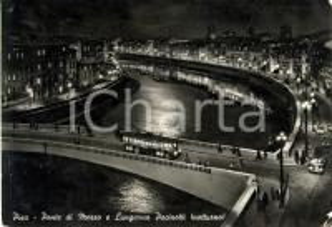 1954 PISA Ponte di MEZZO e LUNGARNO PACINOTTI *ANIMATA con filobus FG VG