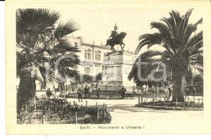 1930 ca BARI Monumento a Umberto I *Cartolina postale vivacemente ANIMATA FP NV