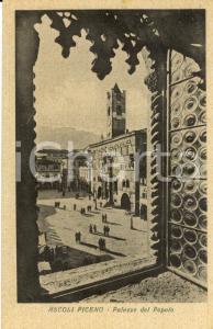 1942 ASCOLI PICENO Veduta Palazzo del POPOLO *Cartolina postale ANIMATA FP VG