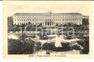1930 ca BARI Piazza Umberto I e Regia Università *Cartolina FP NV