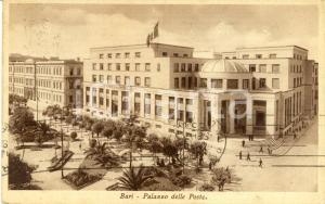 1935 BARI Veduta del Palazzo delle Poste con giardini *Cartolina ANIMATA FP VG
