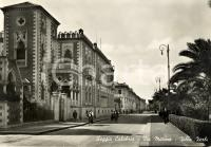 1954 REGGIO CALABRIA Veduta Villa ZERBI in Via MARINA *Cartolina ANIMATA FG VG