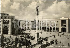 1954 LECCE Veduta di Piazza SANT'ORONZO *Cartolina ANIMATA con auto FG VG