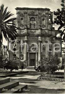 1957 LECCE Veduta della Chiesa di SANTA CHIARA *Cartolina ANIMATA con auto FG VG