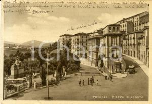 1940 POTENZA Veduta di Piazza XVIII AGOSTO *Cartolina ANIMATA con auto FG VG