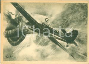 1942 PROPAGANDA DI GUERRA WW2 Caccia germanici incendiano pallone frenato *FG VG