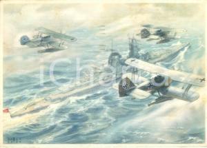 1941 PROPAGANDA DI GUERRA WW2 Aerei LUFTWAFFE di scorta a un cacciatorpediniere