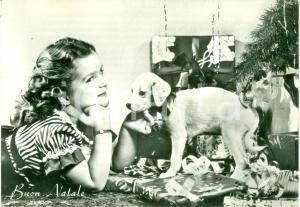 1958 Auguri BUON NATALE bambina con cucciolo di cane *Cartolina ANIMATA FG VG