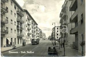 1960 ca BENEVENTO Fiat 500 e corriera in viale MELLUSI *Cartolina DANNEGGIATA