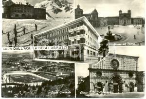 1954 L'AQUILA Vedutine DUOMO Santa Maria COLLEMAGGIO e STADIO *Cartolina FG VG