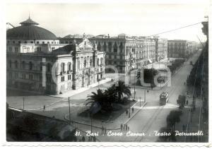 1947 BARI Il Teatro PETRUZZELLI in corso CAVOUR Tram *Cartolina FG VG