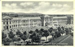 1940 ca PORDENONE Parco RIMEMBRANZA e scuole elementari *Cartolina DANNEGGIATA
