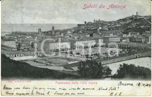 1904 ANCONA Veduta panoramica della città nuova *Cartolina DANNEGGIATA