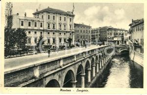 1944 MANTOVA Veduta delle LUNGORIE con passanti *Cartolina postale FP VG