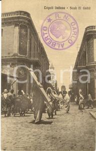 1915 ca TRIPOLI ITALIANA Veduta di SAUK EL GEDID *Cartolina animata FP NV