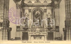 1915 ca TRIPOLI ITALIANA Interno di una chiesa cattolica *Cartolina FP NV