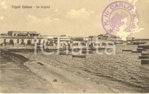 1915 ca TRIPOLI ITALIANA Veduta della dogana con barche *DANNEGGIATA FP NV