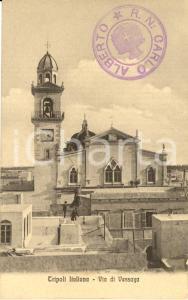 1915 ca TRIPOLI ITALIANA Veduta di via di VESSAYA con chiesa e campanile *FP NV