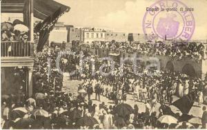1915 ca TRIPOLI ITALIANA Veduta della città in un giorno di festa *Cartolina FP