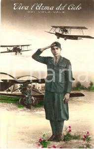 1939 AERONAUTICA MILITARE Viva l'arma del cielo Chi vola vale *Cartolina FP VG