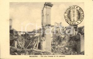 1908 MESSINA TERREMOTO Macerie di un palazzo distrutto *Cartolina FP NV