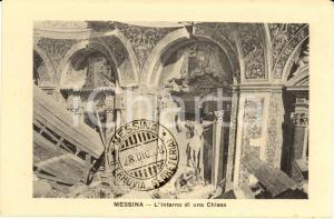 1908 MESSINA TERREMOTO Interno di una Chiesa in macerie *Cartolina FP NV