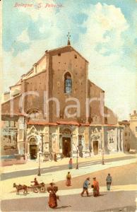 1900 ca BOLOGNA Facciata della basilica di San PETRONIO *ILLUSTRATA ANIMATA FP