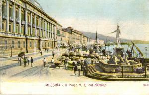 1909 MESSINA Veduta di corso VITTORIO EMANUELE II con il NETTUNO *ANIMATA FP VG