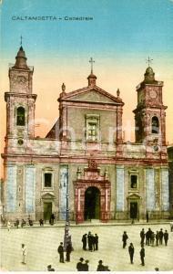 1920 ca CALTANISSETTA Facciata della cattedrale Santa MARIA LA NOVA *ANIMATA FP