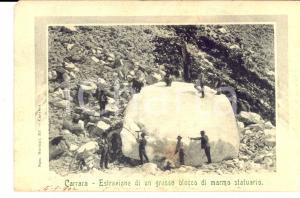 1902 CARRARA Estrazione di un blocco di marmo *Cartolina a Giannino SANVITALE