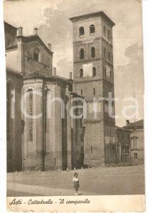 1950 ca ASTI Bambina in posa davanti a Cattedrale SANTA MARIA ASSUNTA *Cartolina