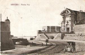 1909 ANCONA Panorama PORTA PIA con Fotomontaggio automobile *Cartolina FP VG