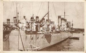 1910 ca MARINA MILITARE Cacciatorpediniere SCHIAFFINO *Cartolina ANIMATA