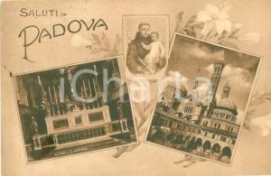 1918 PADOVA Vedutine basilica SANT'ANTONIO Altare Chiostro *Cartolina FP VG